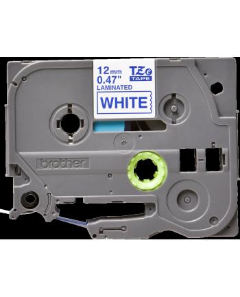 Taśma laminowana do P-touch, Brother TZE-233 12mm biała/niebieski nadruk