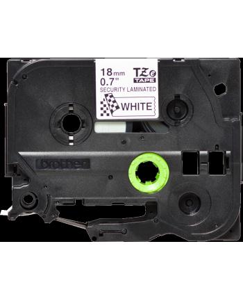 Taśma laminowana plombowa do P-touch, Brother TZE-SE4 18mm biała / czarny nadruk