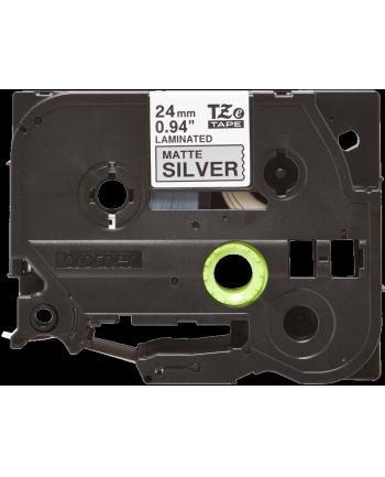 Taśma matowa do P-touch, Brother TZE-M951 24mm srebrna metaliczna/czarny nadruk