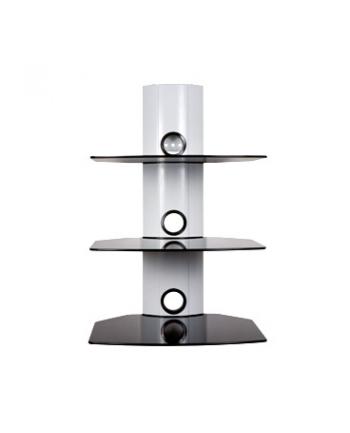 Półki ścienne na DVD/AV, udźwig 30kg, szkło, WHT/BLK