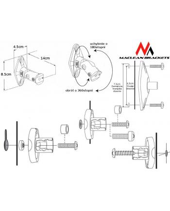 Uchwyt głośnikowy do kolumn Maclean MC-528 komplet 2 szt