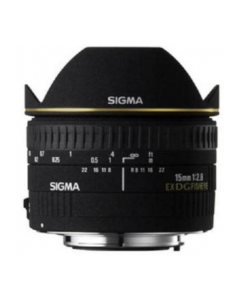 Sigma 15mm F2.8 EX DG Diagonal Fisheye for Canon, 7 Elements in 6 Groups, 180 degrees angle of view, 7 Blades, minimum focusing distance: 15cm