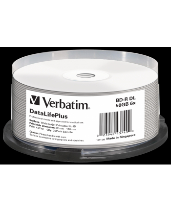 VERBATIM BD-R(25-pack)Blu-Ray/spindle/DL+/6x/50GB/ WIDE PRINTABLE NO ID SURFACE HARD COAT