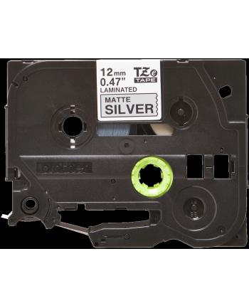 Taśma Brother 12mm BLACK ON SILVER (MAT) TAPE/METALIC