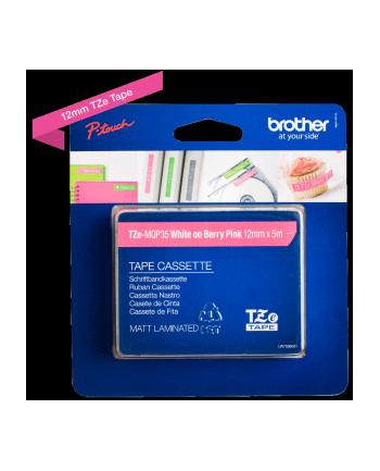 Taśma Brother 12mm White/Berry Pink matt (5M length)