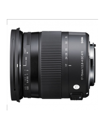 Sigma AF 17-70mm F2.8-4.0 DC MACRO OS HSM for Nikon, 17 Elements in 13 Groups, Angle of View: 72.4 - 20.2 degrees, 7 Blades, Minimum Focusing Distance: 22 cm.