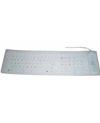 Gembird elastyczna silikonowa wodoodporna klawiatura USB+PS2 biała