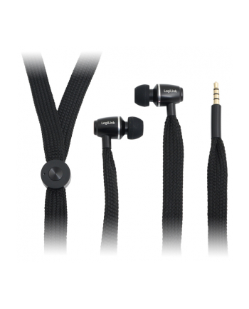 LOGILINK - Słuchawki stereo z mikrofonem czarne ''Sznurówka''