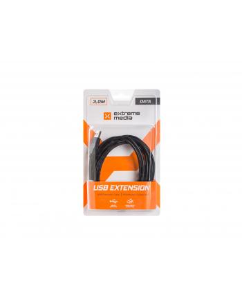 Przedłużacz USB AM-AF 3M Czarny (BLISTER) EXTREME MEDIA