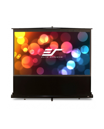 Elite Screens F84NWH ezCinema Portable Screen 84'' 16:9 / Diagonal 213.4cm, W 185.9cm x H 104.6cm / Black case / MaxWhite material / Gain 1.1 / 160° viewing angle / Telescoping support mechanism / Floor support feet / Built-in carrying han
