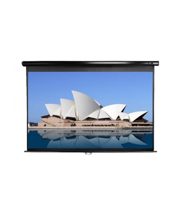 Elite Screens M100UWH Manual Pull Down Screen 100'' 16:9 / Diagonal 250cm, W 221cm x H 124.5cm / Black case / Dual wall & ceiling instalation design/ 4-side black masking border (Top: 15cm) / 160 Degrees wide viewing angle / Auto locking syst