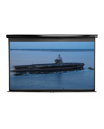 Elite Screens M106UWH Manual Pull Down Screen 106'' 16:9/ Diagonal 269.2cm, W 234.7cm x H 132.1cm / Black case / Dual wall & ceiling instalation design/ 4-side black masking border (Top: 15cm) / 160 Degrees wide viewing angle / Auto locking