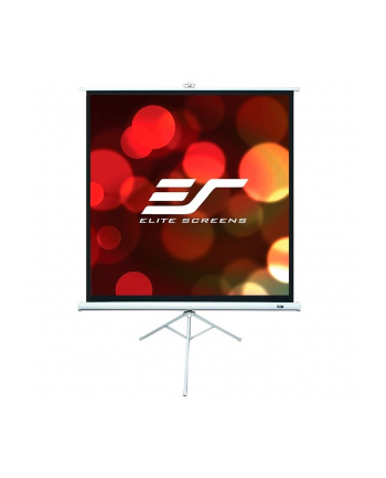 Elite Screens T99NWS1 Tripod Pull Up Screen 99'' 1:1 / Diagonal 247,5cm, W 177,8cm x H 177,8cm / White case / Standard keystone eliminator / 4-side black masking border (Top: 3.8cm) / 160 Degrees viewing angle / Auto locking system / Easy to cl