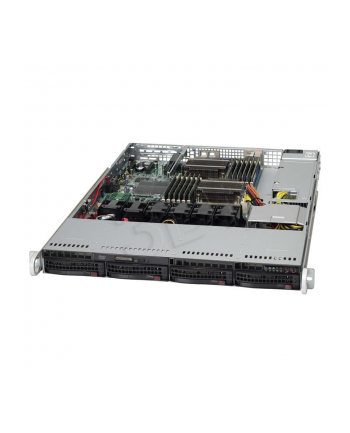 1U, 600W PS (Platinum Level), 4x 3.5'' Hot-swap HDD bays, WIO