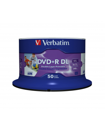 Verbatim DVD+R DL [ spindle 50 | 8,5GB | 8x | wide printable surface ]
