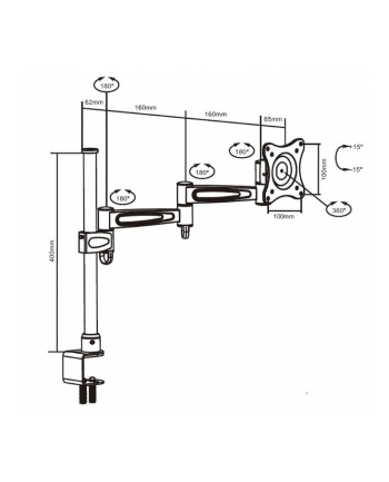 Sunne Desk Bracket Mount, 10''-23'', max. 15Kg, max flexible, height adjustable up to 400mm, Tilt: -15°~15°, Swivel: 180°, Pivot: 360°