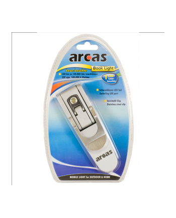 Arcas 1 LED Book Light / incl. 3 x AG13 batteries / 180° swiveling LED-lamp / foldable / with stainless steel clip