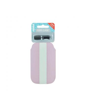 4World Uniwersalne Etui wsuwane GSM, EKO skóra, 12x6.5cm, różowe, biały piasek