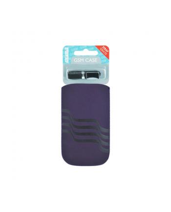 4World Uniwersalne Etui wsuwane GSM, welur, 12.5x6.2cm, purpurowe, fale