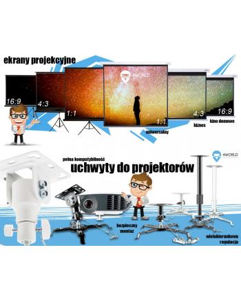 4World Elektryczny ekran projekcyjny z pilotem 145x110 (4:3)  biały mat