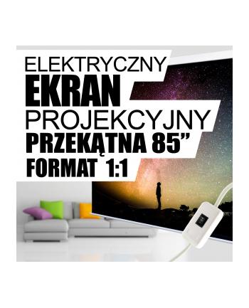 4World Elektryczny ekran projekcyjny z przełącznikiem152x152 (1:1) biały mat
