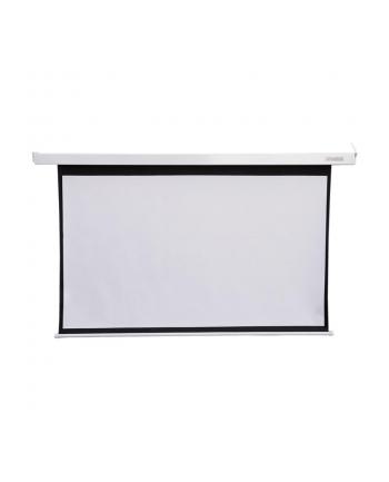 4World Elektryczny ekran projekcyjny z pilotem 186x105 (16:9) biały mat