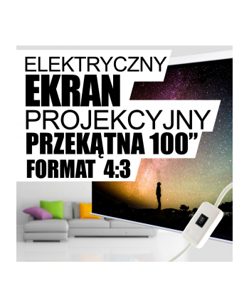 4World Elektryczny ekran projekcyjny z przełącznikiem 203x152 (4:3) biały mat