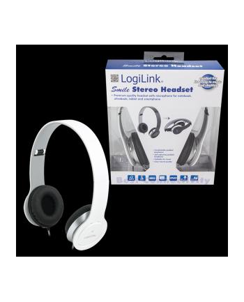 LogiLink Stylowe słuchawki stereo High Quality z mikrofonem, białe