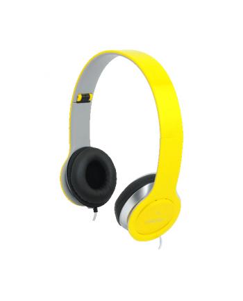 Stylowe słuchawki stereo z mikrofonem, zółte