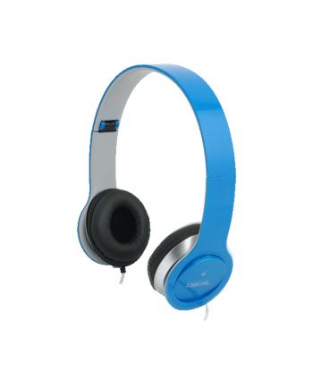 Stylowe słuchawki stereo z mikrofonem, niebieskie