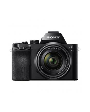 Sony ILCE-7K Black Kit z obiektywem zmiennoogniskowym 28 – 70 mm (SEL-2870), F3.5-5.6, 24.3MP, Full frame, Exmor APS HD CMOS sensor, 3.0'' LCD, Full HD 1080i movie, BIONZ X, HDMI, USB2.0, Media: Memory Stick PRO Duo, SD/SDHC & SDXC card, Li-Ion batt