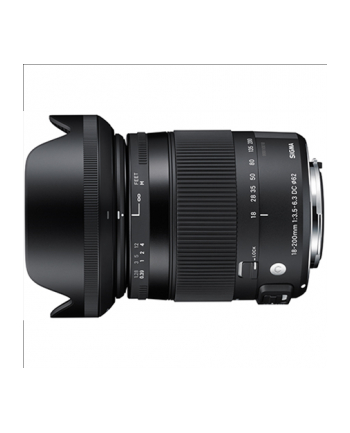 Sigma 18-200mm F3.5-6.3 DC OS HSM for Canon, 16 Elements in 13 Groups, Angle of View: 76.5-8.1 degrees, 7 Blades, Filter size: 62mm, Minimum Focusing Distance  39cm, Compatible with Sigma USB Dock [Contemporary]