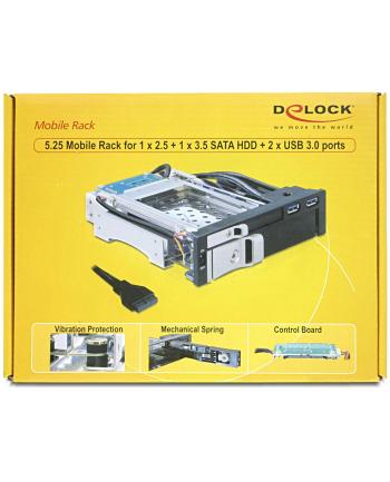 Delock Przenośny stelaż 5.25 do dysków HDD 1x 2.5 + 1x 3.5 SATA+ 2x port USB 3.0