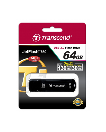 TRANSCEND USB Flash Disk JetFlash®750K, 64GB, USB 3.0, Black