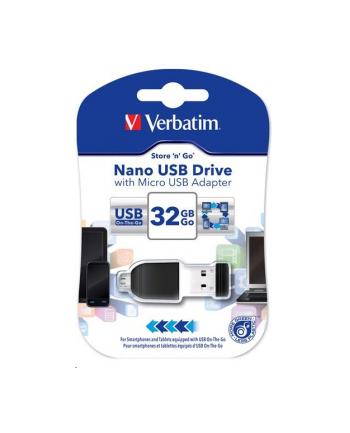 VERBATIM Flash Disk NANO 32 GB Store'n'Stay + micro USB OTG USB 2.0 czarny