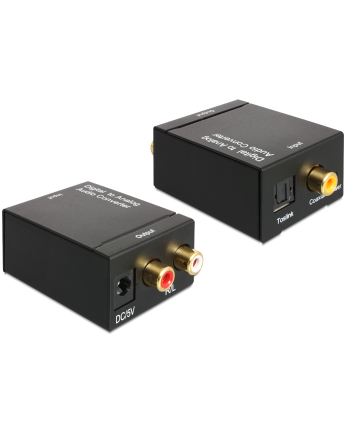 Delock adapter/konwerter Audio Digital Toslink+Coaxial -> Analog 2xRCA+zasilacz