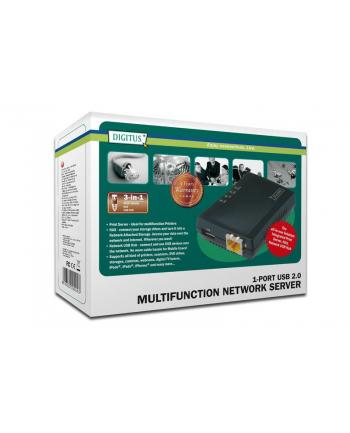 Digitus Wielofunkcyjny serwer sieciowy LAN 1x USB2.0, NAS, serwer wydruku