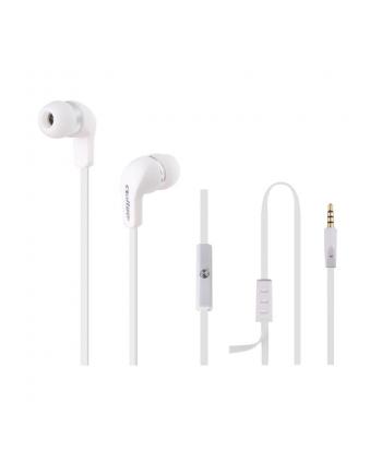 Qoltec Słuchawki douszne + mikrofon   białe