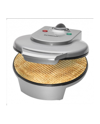 Bomann HA 5017 CB Thin waffle maker, 1200 W, Large baking Plates 18 cm, Non Stick Coated, Continuosly Adjustable Browning Level, 2 Control lights, Including squirrel cone, Overheating protection, Silver