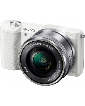 Sony A5100 White with 16-50mm lens, 24.3MP Exmor APS-C CMOS sensor, 3.0'' LCD, Zoom 4x, 25 points AF, Wi-Fi