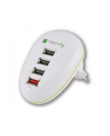 Techly Sieciowa ładowarka USB 5V 2.5A, cztery porty USB, biała
