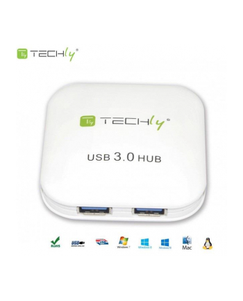 Techly Hub USB 3.0 Super-Speed, 4 porty, biały