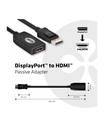 Club3D Kabel DP -> HDMI 130mm