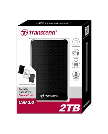 Transcend StoreJet 25A3 2TB USB 3.0 2,5'' HDD Wstrząsoodporny Szybki Backup