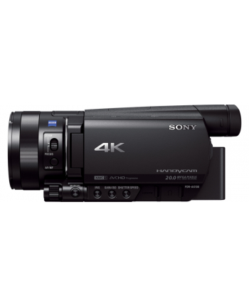 Sony FDR-AX100 Black / 4K/  Exmor R™ CMOS/ Carl Zeiss lens/ 12x optical zoom/ SteadyShot Active Mode/ 3.5'' Clear photo LCD/ 20MP photo/ Face Detection/ HDMI output (micro)/ Media: Memory Stick PRO Duo,Memory Stick PRO Duo, SD/SDHC/SDXC (Class 4