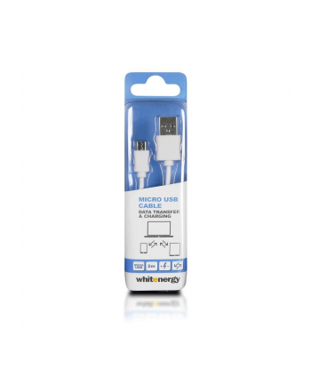 Whitenergy Kabel do przesyłu danych, wtyczka USB 2.0 na micro USB 200cm biały