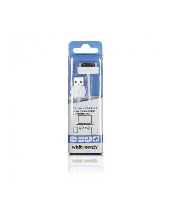Whitenergy Kabel USB 2.0 do iPhone 4 transfer/ładowanie 30cm biały