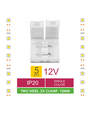 Złączka do taśm LED Whitenergy, dwustronna z dystansem 2x zatrzask 10mm (5 szt)