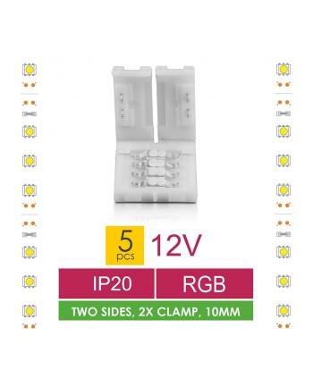 Złączka do taśm LED Whitenergy, RGB, dwustronna z dystansem 2x10mm (5 szt)