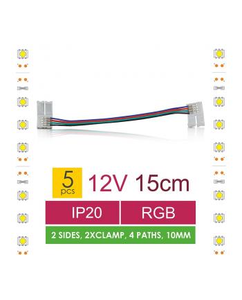 Whitenergy Złączka do taśm LED z kablem Whitenerg,RGB, dwustronna z dystansem 2x10mm (5szt)